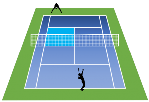 テニスの学校デュースサイドからのサーブ