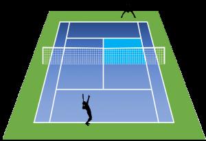 テニスの学校バックサイドからのサーブ