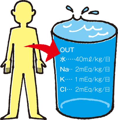 1日の水・電解質の喪失量(成人)