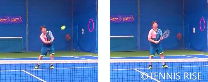 左:ボールの横に入る 右:次のボールに備える
