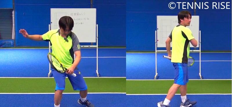 左:軸足の内側に力を入れ 右:足で地面を蹴る