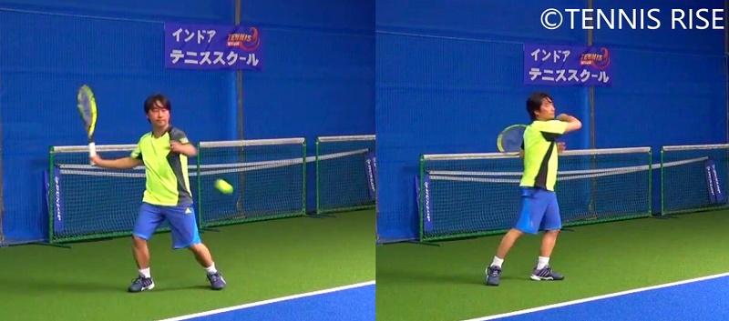 左:右ひざを曲げる 右:右ひざを伸ばす