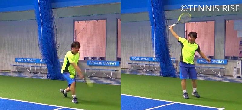 左:左膝を曲げる 右:左膝を伸ばす