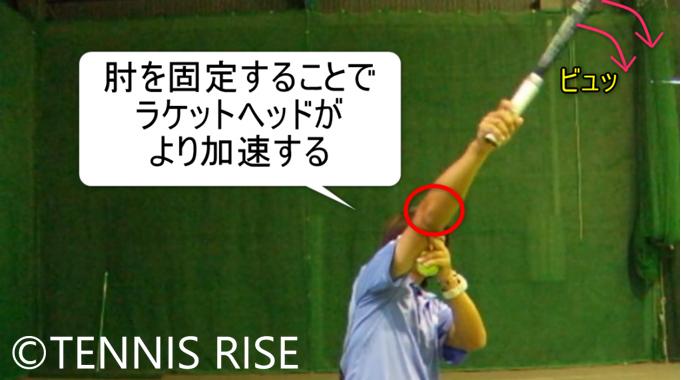 肘を固定することでラケットヘッドが加速する